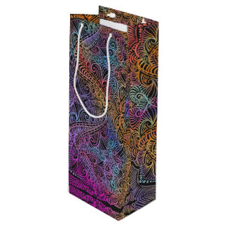 On winding rainbow of time, new age pattern. wine gift bag