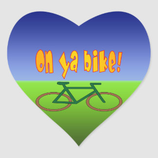 On Ya Bike! Cycling Go Green Zero Emissions Heart Sticker