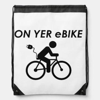 """On yer ebike"" drawstring bags"