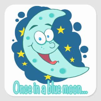 once in a blue moon cartoon square sticker