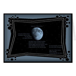 once in a blue moon - poetry art everday note card