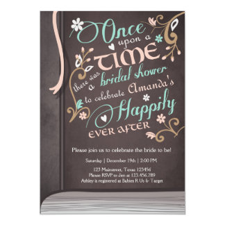 Once Upon a Time Storybook Bridal shower Pink Card
