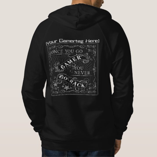 Once You Go Gamer Gamertag Diehards White on Black Hoodie