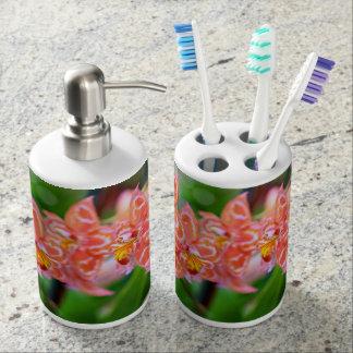 Oncidium soap dispenser/tooth brush holder