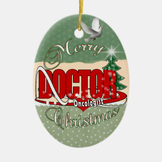 ONCOLOGIST DOCTOR MERRY CHRISTMAS CERAMIC ORNAMENT