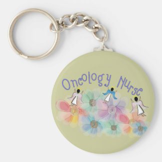 Oncology Nurse Whispy Angels & Flowers Design Keychain