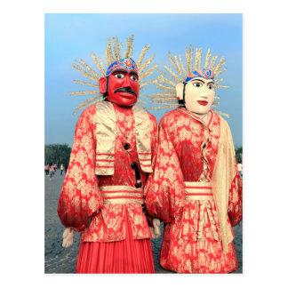 Ondel Ondel puppets Jakarta Postcard