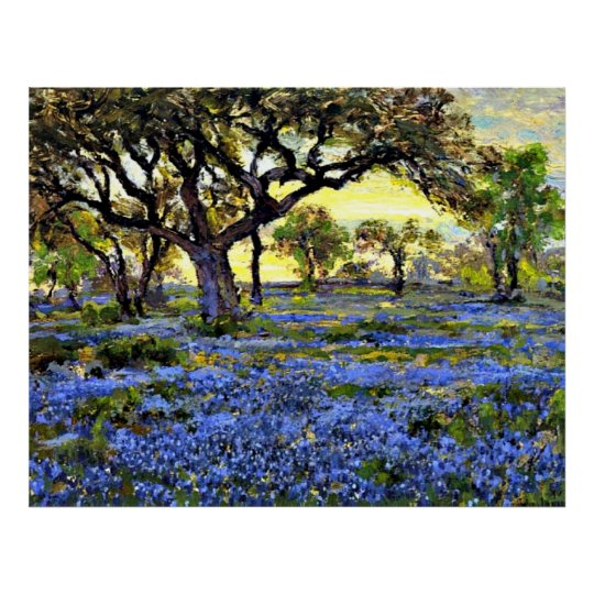 Onderdonk - Old Live Oak Tree and Bluebells Poster