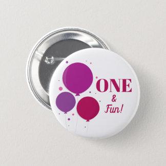 One and Fun purple birthday | Button