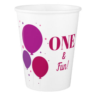 One and Fun purple birthday | Paper Cups