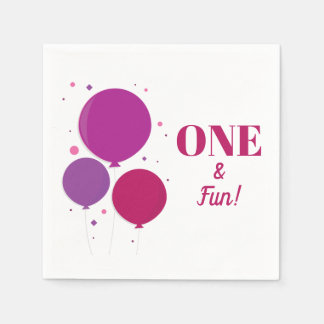 One and Fun purple birthday | Paper Napkins