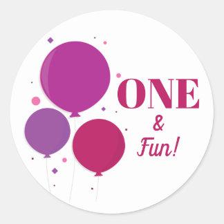 One and Fun purple birthday | Stickers