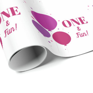 One and Fun purple birthday | Wrapping Paper