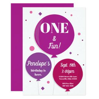 One and Fun Purple | First Birthday Invitation