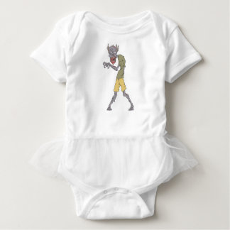 One Arm Creepy Zombie With Rotting Flesh Outlined Baby Bodysuit