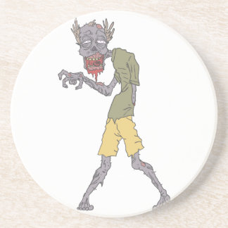 One Arm Creepy Zombie With Rotting Flesh Outlined Coaster