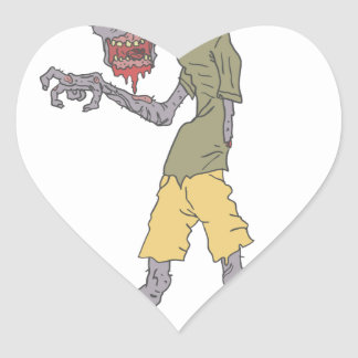 One Arm Creepy Zombie With Rotting Flesh Outlined Heart Sticker