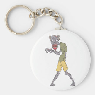 One Arm Creepy Zombie With Rotting Flesh Outlined Keychain