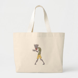 One Arm Creepy Zombie With Rotting Flesh Outlined Large Tote Bag