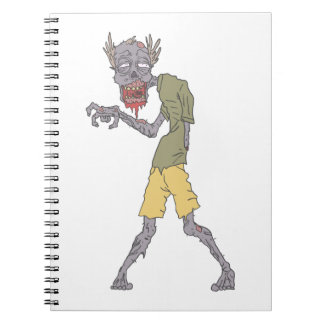 One Arm Creepy Zombie With Rotting Flesh Outlined Notebooks