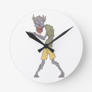 One Arm Creepy Zombie With Rotting Flesh Outlined Round Clock