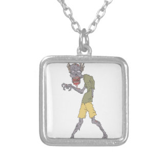 One Arm Creepy Zombie With Rotting Flesh Outlined Silver Plated Necklace