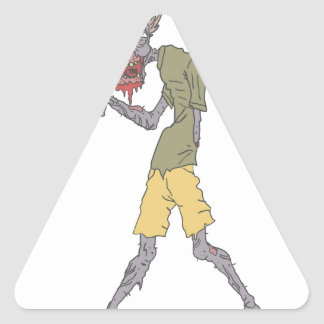 One Arm Creepy Zombie With Rotting Flesh Outlined Triangle Sticker
