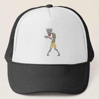 One Arm Creepy Zombie With Rotting Flesh Outlined Trucker Hat