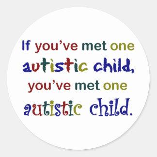 One Autistic Child Round Sticker