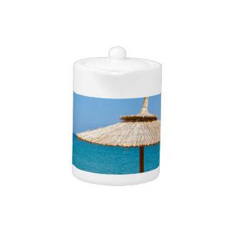 One beach umbrella and sunloungers near ocean