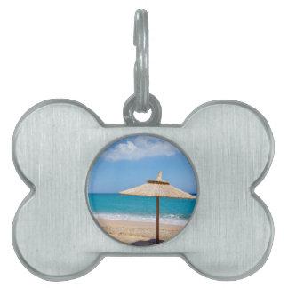 One beach umbrella and sunloungers near ocean pet name tag