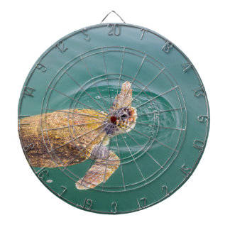 One big swimming sea turtle Caretta Dartboard