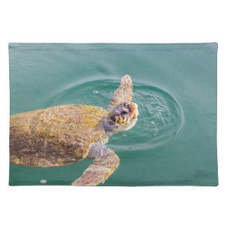 One big swimming sea turtle Caretta Placemat