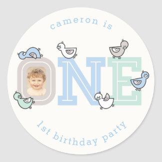 ONE Blue Baby Ducklings 1st Birthday Party Sticker