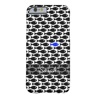 One Blue Fish in a Sea of Black Fish, Personalized Barely There iPhone 6 Case