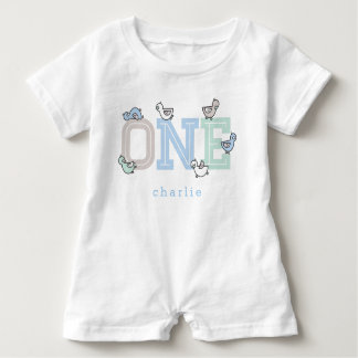 ONE Blue Whimsical Cute Baby Boy Ducklings T-shirt