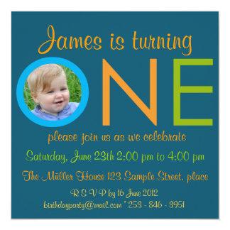 """ONE"" Boy first birthday party photo invitations"