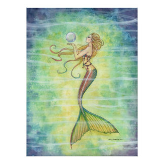 One Bubble Mermaid Poster
