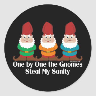 One By One The Gnomes Round Sticker