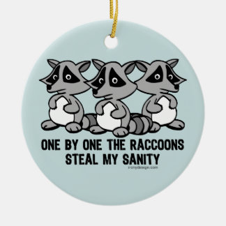 One By One The Raccoons Round Ceramic Ornament