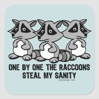 One By One The Raccoons Square Sticker