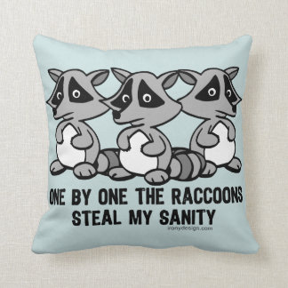 One By One The Raccoons Throw Pillow