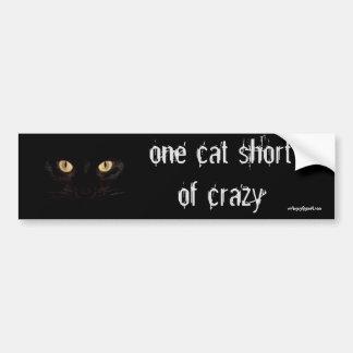 one cat short bumper sticker