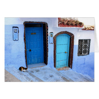 One Cat - Two Blue Moroccan Doors Card