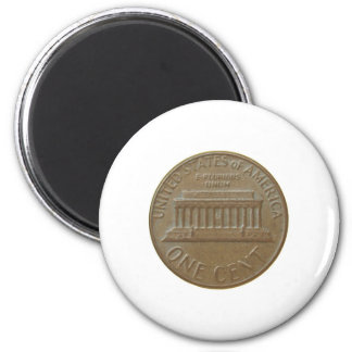 One Cent Coin Isolated Over White Background Magnet