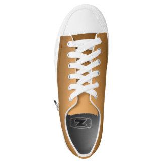 One Color Plain Gradient Golden Low-Top Sneakers