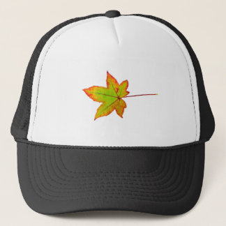 One colorful maple leaf in autumn on white trucker hat