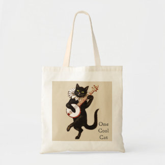 """""""One Cool Cat"""" Playing a Red Banjo Tote Bag"""