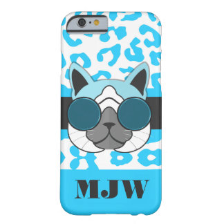 One Cool Cat Turquoise Animal Print and Monogram Barely There iPhone 6 Case
