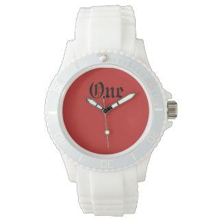 One Custom Sporty White Silicon Wrist Watches